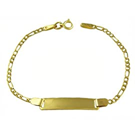 14K Yellow Gold 2.5mm Baby Hollow Figaro Italy ID Bracelet  6 Inches
