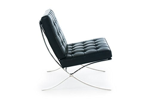 Barcelona chair black italian leather premium for Chaise longue barcelona