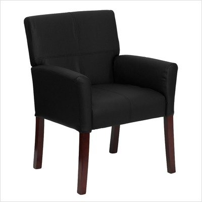 Black Leather Executive Side Chair / Reception Chair [BT-353-BK-LEA-GG]