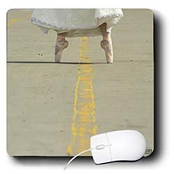 Kike Calvo Dance - Ballerina dressed up with her wedding dress, in possition with her ballet shoes - Mouse Pads