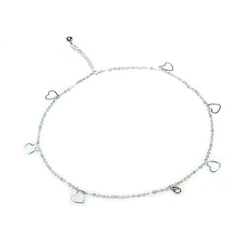BestDealUSA Beautiful 925 Silver Heart Shape Bracelet With Double Chain