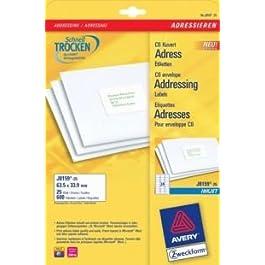 AVERY ZWECKFORM Lot de 600 étiquettes Adresse sur 25 feuilles 63,5 x 33,6 mm jet d'encre Blanc