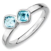 0.72ct Silver Stackable Db Cushion Cut Blue Topaz Band. Sizes 5-10
