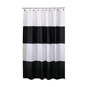 Amazon.com: Interdesign Zeno Waterproof Long Shower Curtain, Black ...