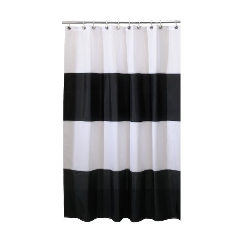 interdesign zeno waterproof long shower curtain blackwhite 72 inches x 84 inches