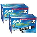 Expo Low Odor Chisel Tip Dry Erase Markers, Black (80001) - Pack of 2 - 24 Markets Total