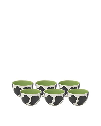 Woodard & Charles Set of 6 Cow Ice Cream Bowls, Green