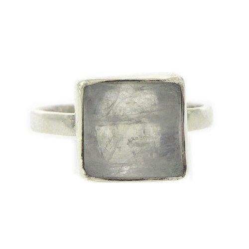 Nova Silver - Anello da donna con pietra di luna (3,5 ct), argento sterling 925, 14, cod. ns/nsr18/m