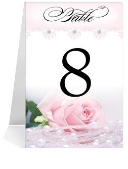 Wedding Table Number Cards - Baby Pink n' Pearls