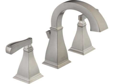 Unique Delta Olmsted Stainless Handle Widespread WaterSense Labeled Bathroom Sink Faucet Drain Included