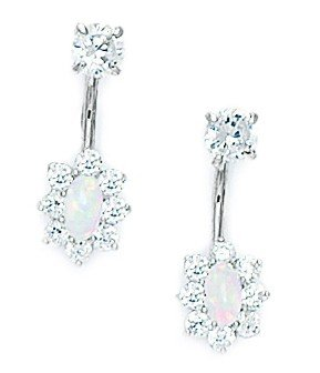 14ct White Gold CZ Oval Telephone Earrings - Measures 17x6mm