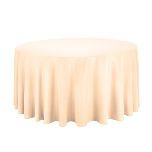 Linentablecloth Round Polyester Tablecloth, 120-Inch, Cantaloupe front-454412