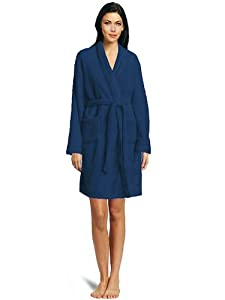 Cozy Home Collection: Ultra Soft Shawl Bathrobe - Plush Fleece Robe, 100% Microfiber, Color: Navy Blue, Size: S / M