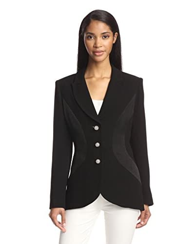 Zelda Women's Crepe Lucite Button Jacket