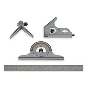"""MITUTOYO 4 Piece Combination Square Set - Model: 180-905 Blade Length: 12"""" Protractor Head Type: Reversible Graduation: 4R-8ths, 16ths, 32nds, 64ths Type of Reading: Inch"""