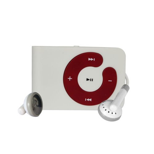 White Mini Clip Mp3 Player Support 8 GB Micro SD Card