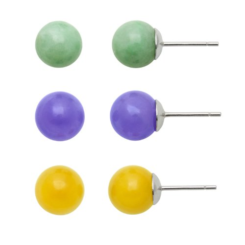 Sterling Silver, Multi-Colored Jade 8 mm Stud Earrings Set