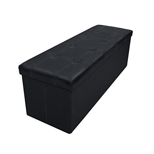 Best Price Plus Button Design Memory Foam Folding Storage Ottoman Bench with Faux Leather, 45