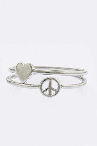 Karmas Canvas Peace And Love Sign Double Ring (Silver)