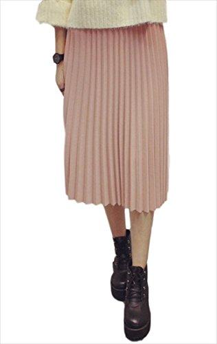 (フムフム) fumu fumu 2016 春 プリーツスカート ( ふんわり 大人の魅力で上品に ) ミモレ丈 黒 グレー ワインレッド ピンク グリーン ふんわり 大人 可愛い エンジ セクシー トレンド オシャレ きれいめ シフォン お嬢様 上品 ドレス 結婚式 二次会 人気 フリーサイズ (ピンク)