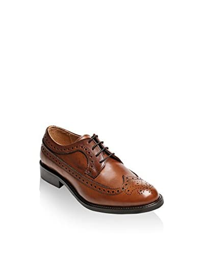 British Passport Zapatos Oxford Wing Cap Cognac
