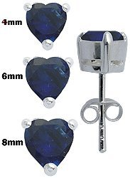 Solitaire Silver HEART Earrings - Stud Earrings Silver - Solitaire Cz earrings - Silver Earrings 4mm to 8mm in Blue Sapphire. These are fine jewellery quality earrings hand polished and hand finihsed set with fine Austrian cut CZ crystals