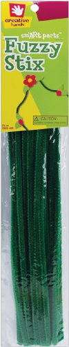 Fibre Craft - Creative Hands 3225 46E 25-Piece Fuzzy Stix for Craft Supplies, 6mm, Dark Green - 1