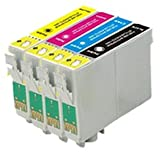 COMBO PACK - Compatible Refillable T1285 Cartridges with Auto-Reset Chip for Epson Stylus S22, SX125, SX230, SX420W, SX425W, SX445W, SX430W and Office BX305F, BX305FW, BX305FW Plus Printers - T1281-T1284 ONE SET
