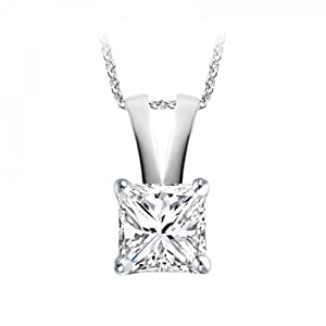 0.40 Carat D/VS1 Princess Certified Diamond Solitaire Pendant in 18k White Gold