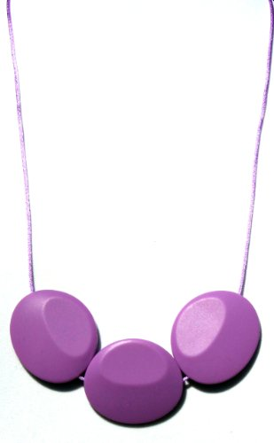 Peacemaker Jewelry Tri-Stone Silicone Teething Necklace (Purple Orchid) - 1