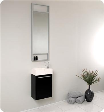 Fresca FVN8002BW Pulito Small Black Modern Bathroom Vanity w/ Tall Mirror