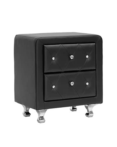 Baxton Studio Stella Faux Leather Upholstered Nightstand, Black