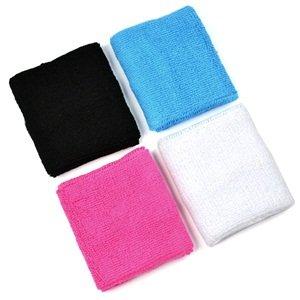 4 pair of COSMOS ® Pink/Black/White/Light Blue cotton sports basketball wristband / sweatband wrist sweat band/brace