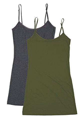 rt1002-pk-ladies-adjustable-spaghetti-strap-long-tank-top-2pack-hcharcoal-olive-m