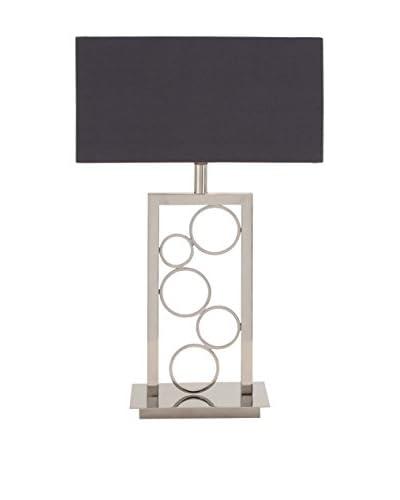 Steel 1-Light Table Lamp, Silver/Black