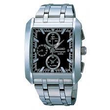 Ref. SNA769 Reloj Seiko Caballero, cronografo, correa y caja de acero, esfera color negro, sumergible 100 metros, garantia 2 años.