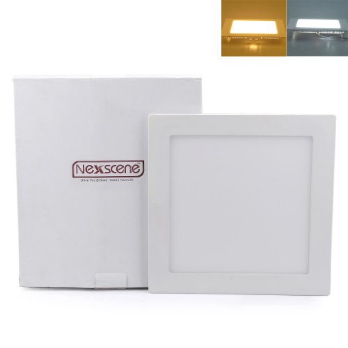 Nexscene 18W 9 Inch Ultra Thin Anti-Fogging Square Ceiling Panel Led Recessed Lighting Trim Downlight (Cool White)