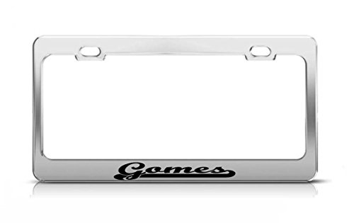 gomes-last-name-ancestry-metal-chrome-tag-holder-license-plate-cover-frame