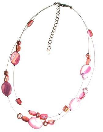 Tribe dusky pink oval shell two strand necklace