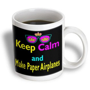 Dooni Designs Cmyk Hipster Designs - Cmyk Keep Calm Parody Hipster Crown And Sunglasses Keep Calm And Make Paper Airplanes - 11Oz Mug (Mug_116729_1)