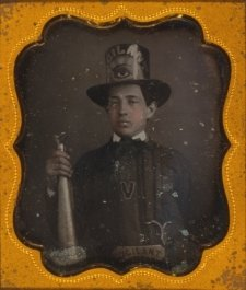 between 1840 and 1860 Vigilant Fire Company, Baltimore, firefighter, half-len a7
