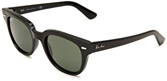 Ray-Ban Meteor 601 Wayfarer Sunglasses,Shiny Black Frame/Crystal Green Lens,One Size