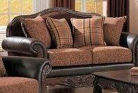 Picture of Poundex Brown Leather Mahogany Wood And Upholstry Loveseat With 4 Pillows by Poundex (F7649) (Sofas & Loveseats)