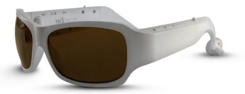 Tri Specs Bluetooth MP3 Sunglasses - Wireless Cell Phone Connection and Prescription Compatable, White
