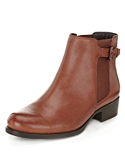 Footglove™ Leather Wide Fit Strap Chelsea Boots