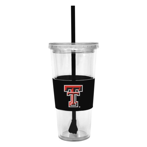 Ncaa Texas Tech Red Raiders 22 Ounce Insulated Tumbler With Rubber Sleeve And Stir Straw