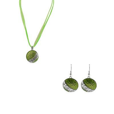 TJC Jewellery Set With Green Austrian Stone