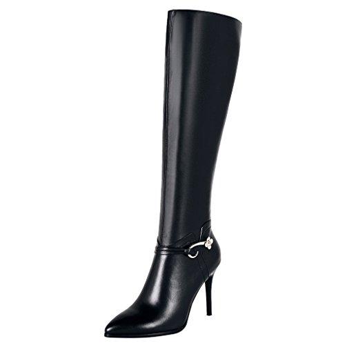 ELEHOT Donna Eleyou tacco a spillo 9.5CM Leather Stivali, nero, 41