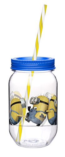 Zak! Designs Tritan Mason Jar Tumbler with Screw-on Lid and Straw featuring Despicable Me 2 Minions Graphics, BPA-free, 19 oz. - 1
