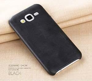 MVE (TM) USAMS Bob Series Vintage PU Leather Back Case Cover For Samsung Galaxy J2- BLACK